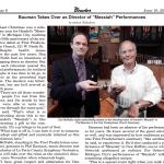 Messiah Article Announcing Philip Bauman as new Music Director
